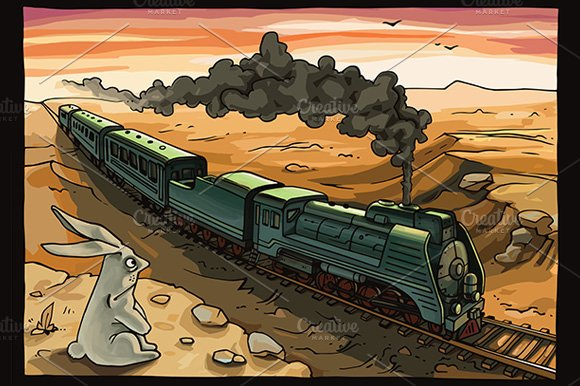 Steam Locomotive and Rabbit