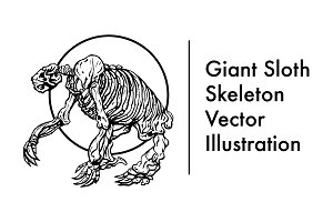 Giant Sloth Skeleton Vector