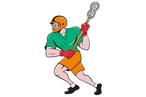 Lacrosse Player Crosse Stick Running