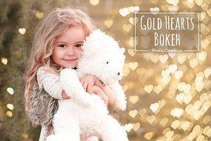 36 Gold Hearts Bokeh Overlays