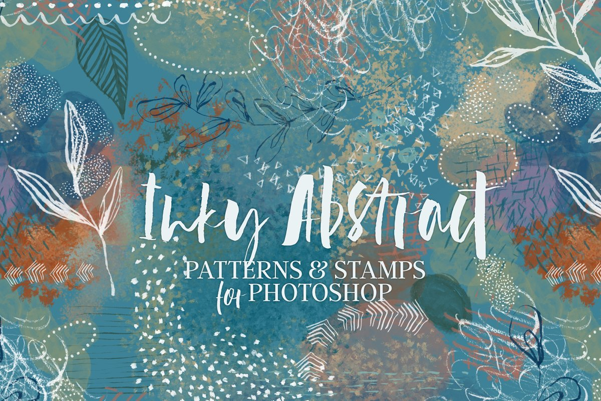 Inky Abstract Patterns & PS Stamps ~ Photoshop Add-Ons ~ Creative Market