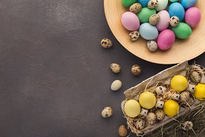 Easter background. Colored eggs on
