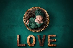 Newborn Digital Backdrop - teal