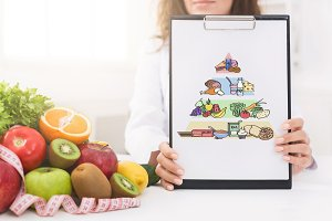 Woman nutritionist showing blank