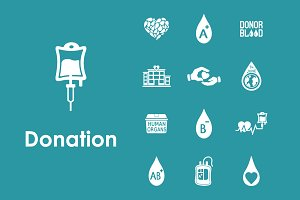 Set of donation simple icons