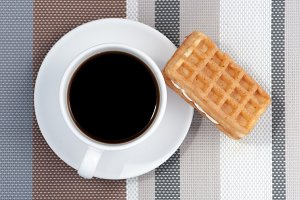 Waffle and a Cup of hot coffee