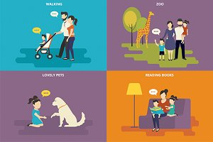 Family flat illustrations set #11
