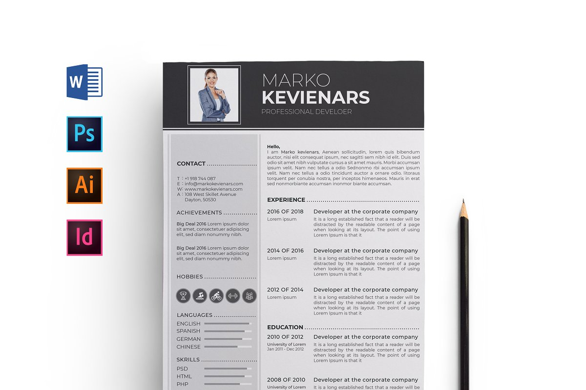 Professional Word Resume CV Template ~ Resume Templates ...
