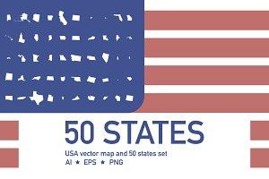 50 States & USA Map for Infographics