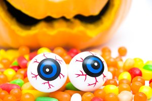Pumpkin halloween, eyes and candies