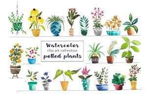 Watercolor Potted Plants - Clip Art