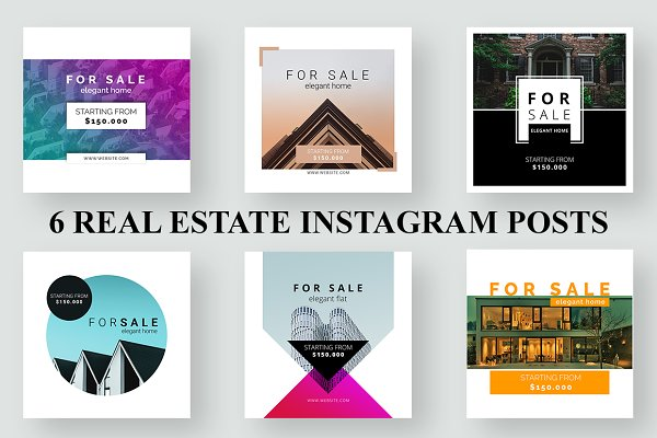 6 Real Estate Instagram Ads Creative Photoshop Templates Creative Market