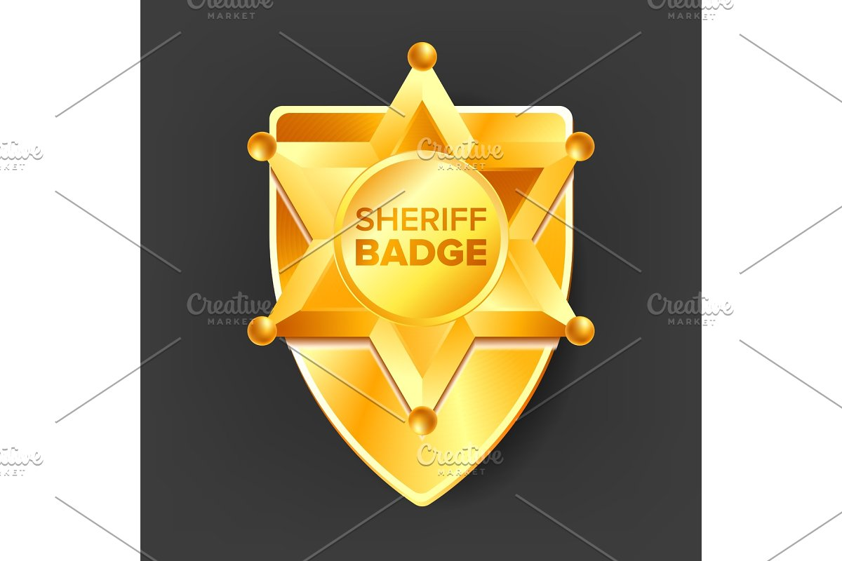 b39c77536e7 Sheriff Badge Vector. Golden Star ~ Graphic Objects ~ Creative Market