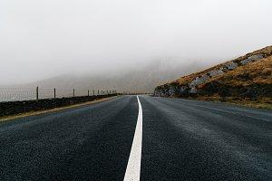 Misty Lonely Road in Ireland