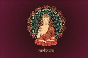 6 Lord Buddha. Mandalas. Vector