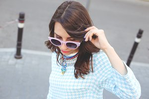 Fashionable girl with sunglasses