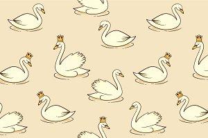 Swan vector seamless pattern