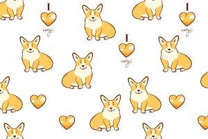 Welsh corgi dog pattern