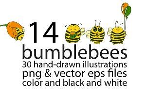 Cartoon bumblebees characters