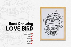 Hand Drawing Love bird