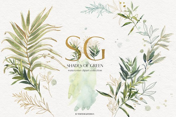 Shades of Green Watercolor Clipart