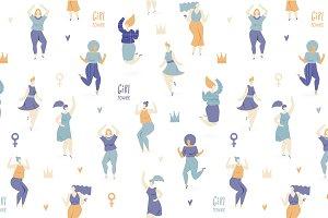 Woman dance, vector seamless pattern