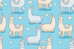 Llama, vector seamless pattern
