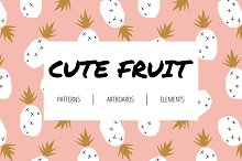 Cute fruit. Patterns and artboards