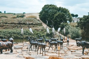Animal sculptures in a park