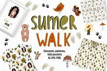 Summer Walk - Kids vector clipart