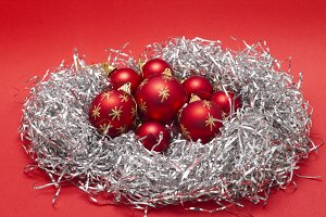 Nest with Christmas balls
