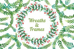 Watercolor wreaths and frames