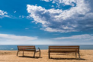 Two benches at beach