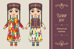 The girl in  Uzbek dress.
