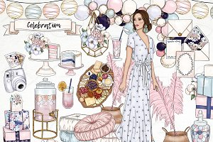 Party Event Fashion Girl Clip Art
