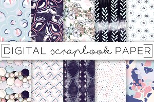 Navy & Pink Abstract Digital Papers