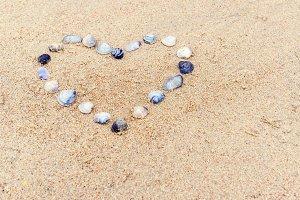 Heart built of sea shells