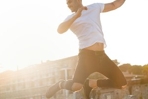 Man jumping with energy.