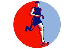 Barefoot Runner Running Front Circle