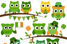 St. Patricks Day Owl Clipart Vectors