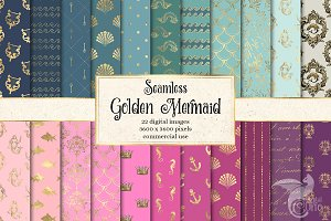 Golden Mermaid Digital Paper