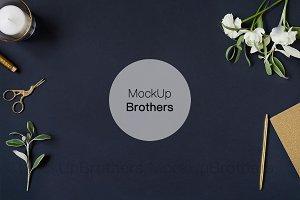 Stationery background mockup, blue