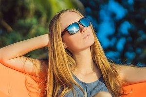 Summer lifestyle portrait of pretty