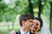 Groom and Bride in a park. wedding