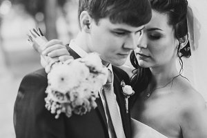 Wedding picture in black and white,