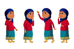 Arab, Muslim Girl Kid Poses Set