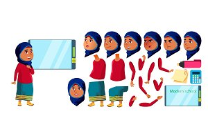 Arab, Muslim Girl Kid Vector. High