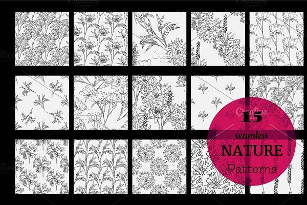 Set of 15 Floral Patterns. Vector