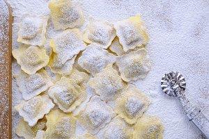 Preparing fresh ravioli.