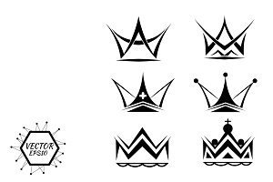 Set of silhouettes of crowns